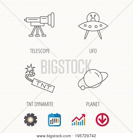 Ufo, planet and telescope icons. TNT dynamite linear sign. Calendar, Graph chart and Cogwheel signs. Download colored web icon. Vector