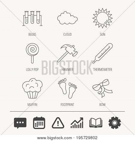 Footprint, lab bulbs and thermometer icons. Muffin, bow and lolly pop linear signs. Cloud and sun flat line icons. Education book, Graph chart and Chat signs. Vector