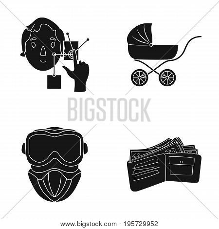 bank, lending, store and other  icon in black style.purse, money, purchase, icons in set collection