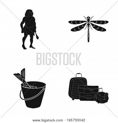 fish, fishing, delicacyand other  icon in black style.wings, nature, bucket, icons in set collection