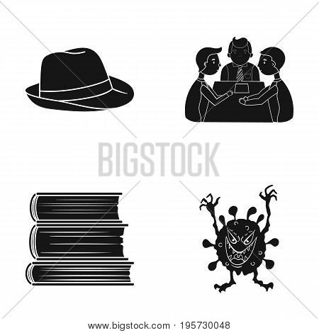 education, textiles, hygiene and other  icon in black style.fiction, diseases, business icons in set collection.