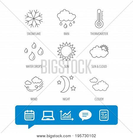 Weather, sun and rain icons. Moon night, clouds and water drops linear signs. Wind, snowflakes and thermometer flat line icons. Report file, Graph chart and Chat speech bubble signs. Vector