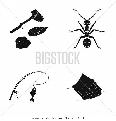tourism, history, science and other  icon in black style.tent, fabric, lodging, icons in set collection