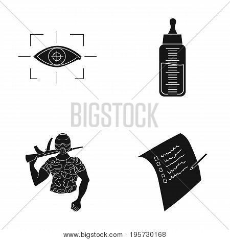 test, sport, medicine and other  icon in black style. pencil, record, document icons in set collection.