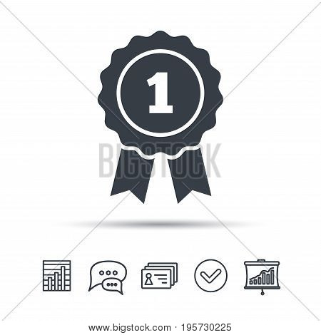 Winner medal icon. Award emblem symbol. Chat speech bubble, chart and presentation signs. Contacts and tick web icons. Vector