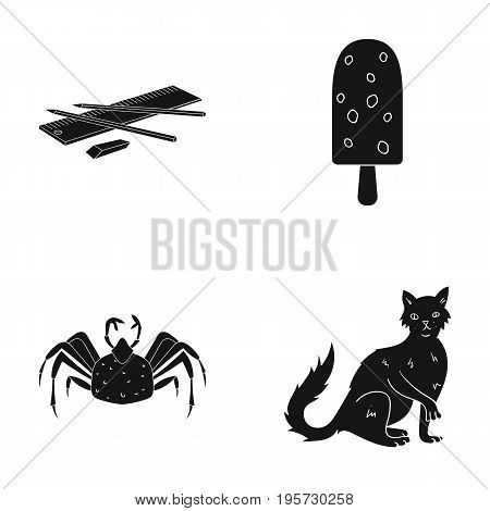 animal, home, nature and other  icon in black style.delicacy, cat, wool icons in set collection.