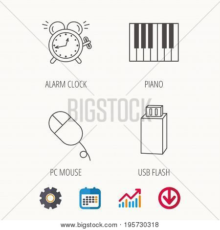 Alarm clock, USB flash and PC mouse icons. Piano linear sign. Calendar, Graph chart and Cogwheel signs. Download colored web icon. Vector