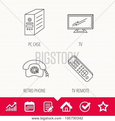 TV remote, retro phone and TV remote icons. Widescreen TV linear sign. Edit document, Calendar and Graph chart signs. Star, Check and House web icons. Vector
