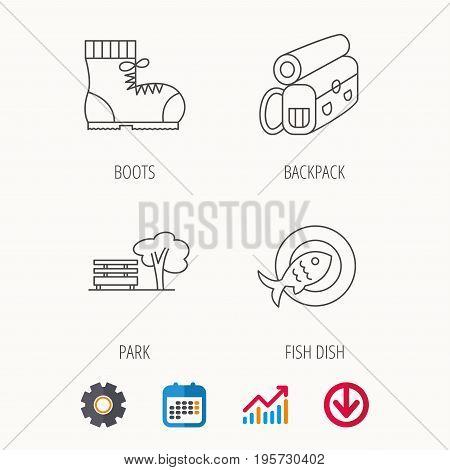Park, backpack and hiking boots icons. Fish dish linear sign. Calendar, Graph chart and Cogwheel signs. Download colored web icon. Vector