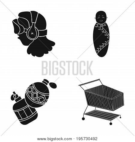 store, products, transportation and other  icon in black style.liquid, design, stroller, icons in set collection