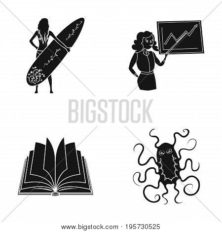 infection, medicine, hobbies and other  icon in black style.institute, microbe, hygiene, icons in set collection