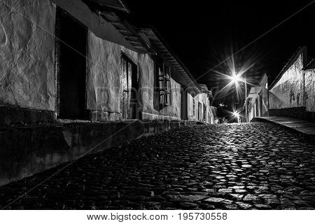 An old town by night. Guarico state Venezuela