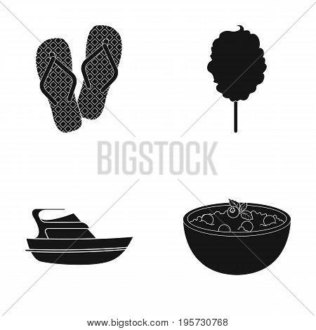 food, rest, cafe and other  icon in black style. pussy, porridge, berries icons in set collection.