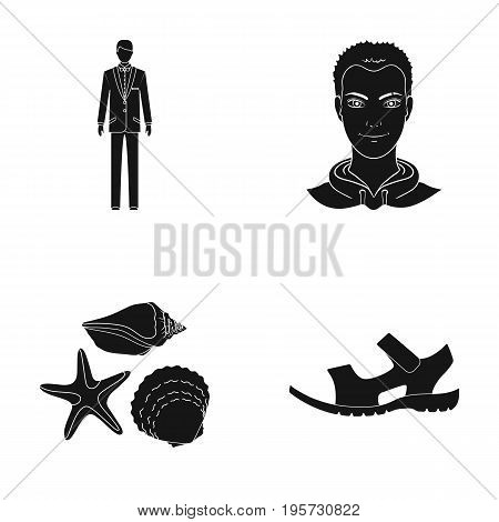 hairdresser, travel, tourism and other  icon in black style.leather, shoes, textiles icons in set collection.