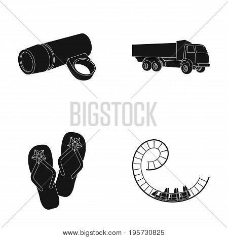 attraction, carousel, entertainment and other  icon in black style. ornaments, road, seat, icons in set collection