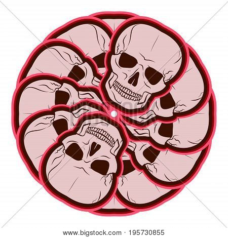 Circular pattern of skulls. emblem. vector illustration