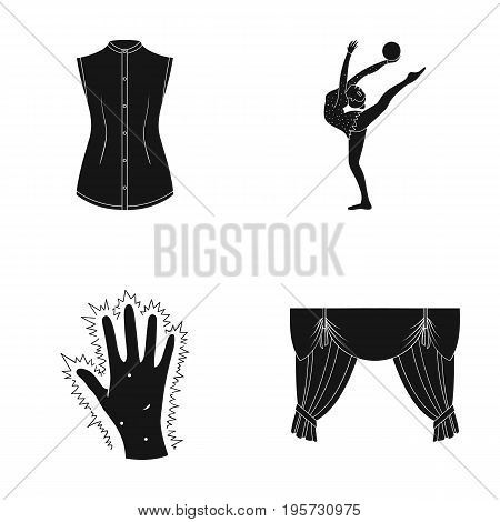 sport, medicine, textiles and other  icon in black style.hospital, curtains, drapes icons in set collection.