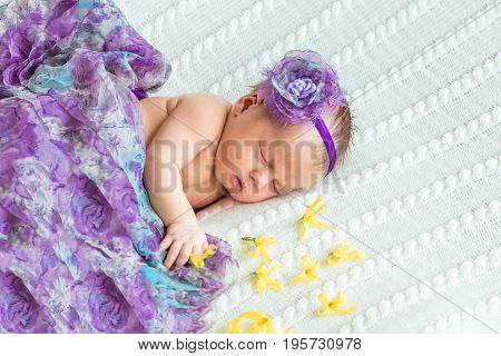 Portrait of newborn baby girl princess with crown sleeping on soft white blanket with yellow flowers