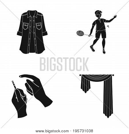 sport, textiles, medicine and other  icon in black style.curtains, curtain rods, design, icons in set collection.