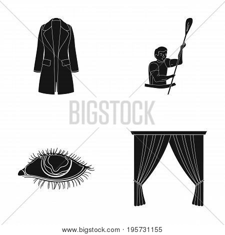 circle, booth, textiles and other  icon in black style.carousel, attraction, entertainment, icons in set collection