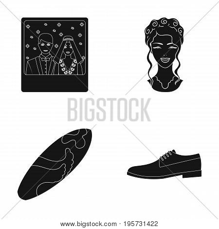 celebration, hairdresser, cosmetology and other  icon in black style. lace, skin, wedding, icons in set collection