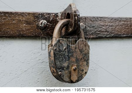 A Large Antique Castle On The Iron Door. Concept Of Prohibition Or Protectionбб