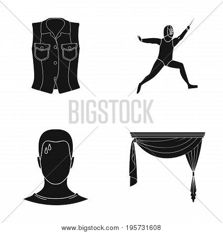 curtains, cornices, textiles and other  icon in black style.fatigue, drops, forehead, icons in set collection