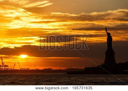 Sunset in New York City - Liberty