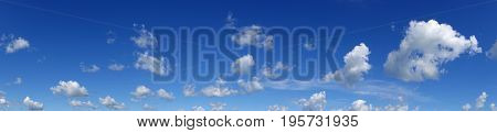 Heaven beautiful blue sky with clouds. Panorama white clouds flying against blue sky.