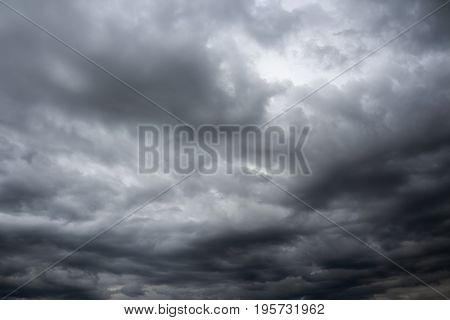 Dramatic overcast cloudy sky. Thunderclouds flying over horizon cloudscape.