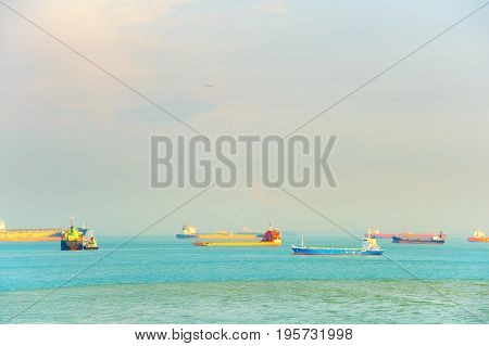 Industrial Ships In Singapore Harbour