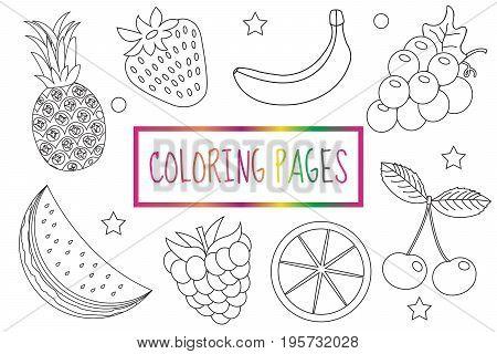 Coloring book page. Fruit set. Sketch, doodle, outline style. Coloring for kids. Childrens education Vector illustration