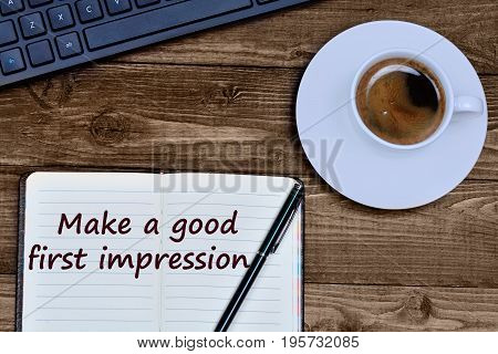 Text Make a good first impression on notebook page