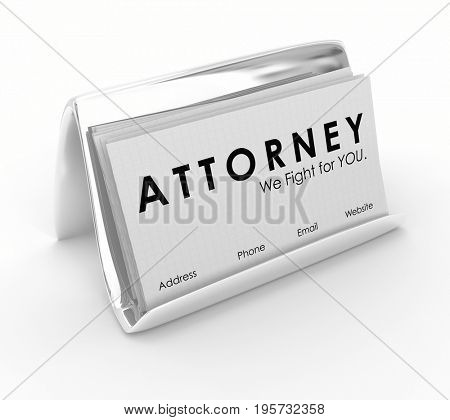Attorney Lawyer Business Cards Hire Legal Help 3d Illustration