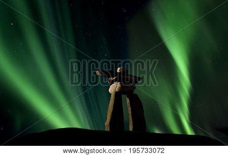 Inukshuk inukchuk Saskatchewan Northern Lights Aurora scenic