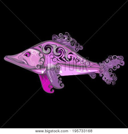 Curly pink fish. Vector illustration drawn by hand