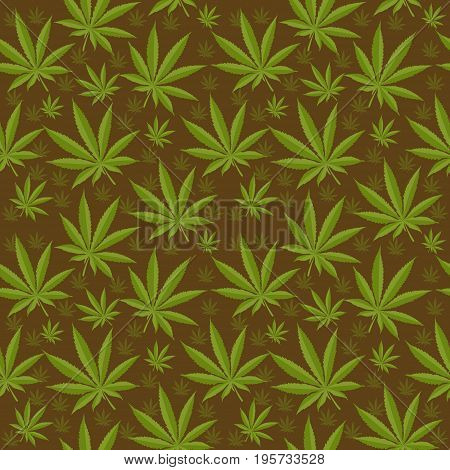 Marijuana seamless pattern. Cannabis is an endless texture. Medical hemp repeating background. Vector illustration