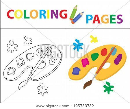 Coloring book page. Palette of paints, brush. Sketch outline and color version. Coloring for kids. Childrens education. Vector illustration