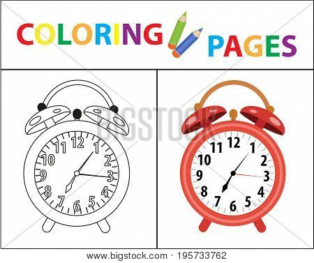 Coloring book page. Red alarm clock. Sketch outline and color version. Coloring for kids. Childrens education. Vector illustration