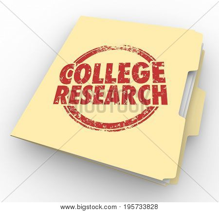 College Research School University Information Folder 3d Illustration