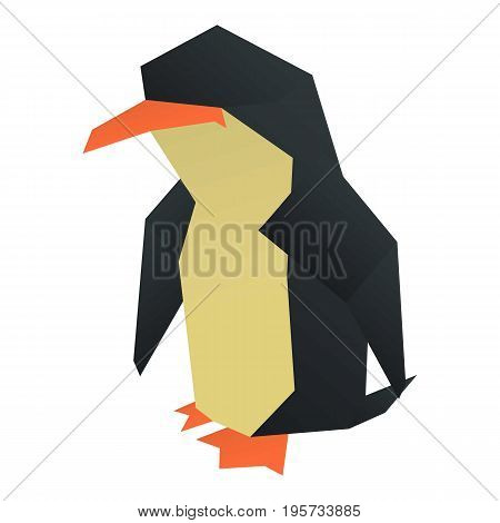 Origami penguin icon. Cartoon illustration of origami penguin vector icon for web