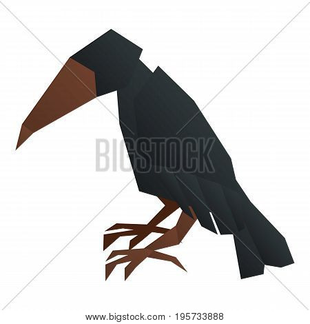Origami crow icon. Cartoon illustration of origami crow vector icon for web