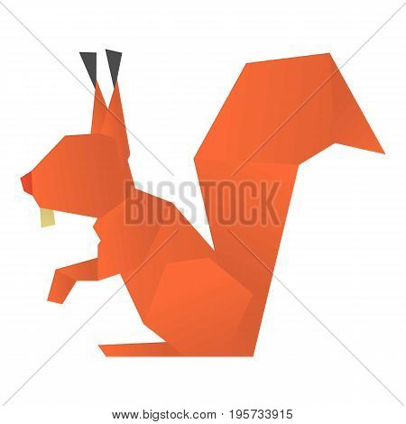 Origami squirrel icon. Cartoon illustration of origami squirrel vector icon for web