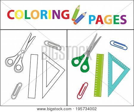 Coloring book page. Back to school set, scissors, ruler, paperclips. Sketch outline and color version. Coloring for kids. Childrens education. Vector illustration
