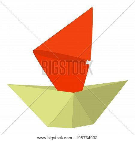 Origami ship icon. Cartoon illustration of origami ship vector icon for web