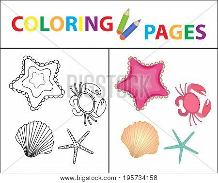 Coloring book page. Sea set, star, shell, crab, pearl. Sketch outline and color version. Coloring for kids. Childrens education. Vector illustration