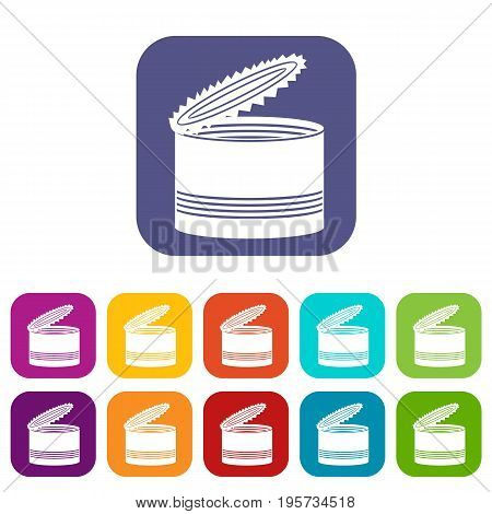 Open tin can icons set vector illustration in flat style In colors red, blue, green and other