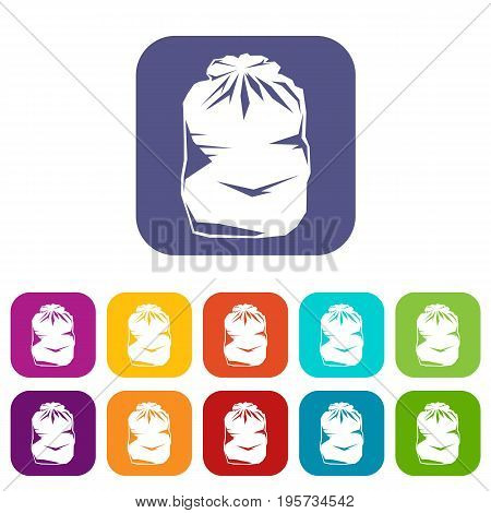 Black trash bag icons set vector illustration in flat style In colors red, blue, green and other