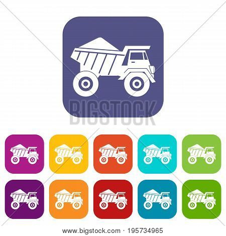 Dump truck with sand icons set vector illustration in flat style In colors red, blue, green and other