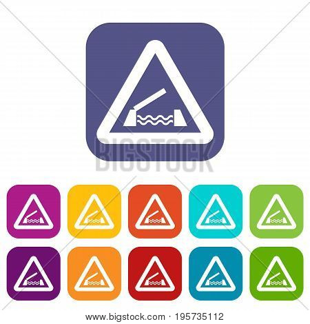 Lifting bridge warning sign icons set vector illustration in flat style In colors red, blue, green and other